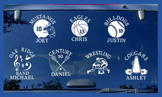 Name Your Game Sports Window Decals - Window decals for sports